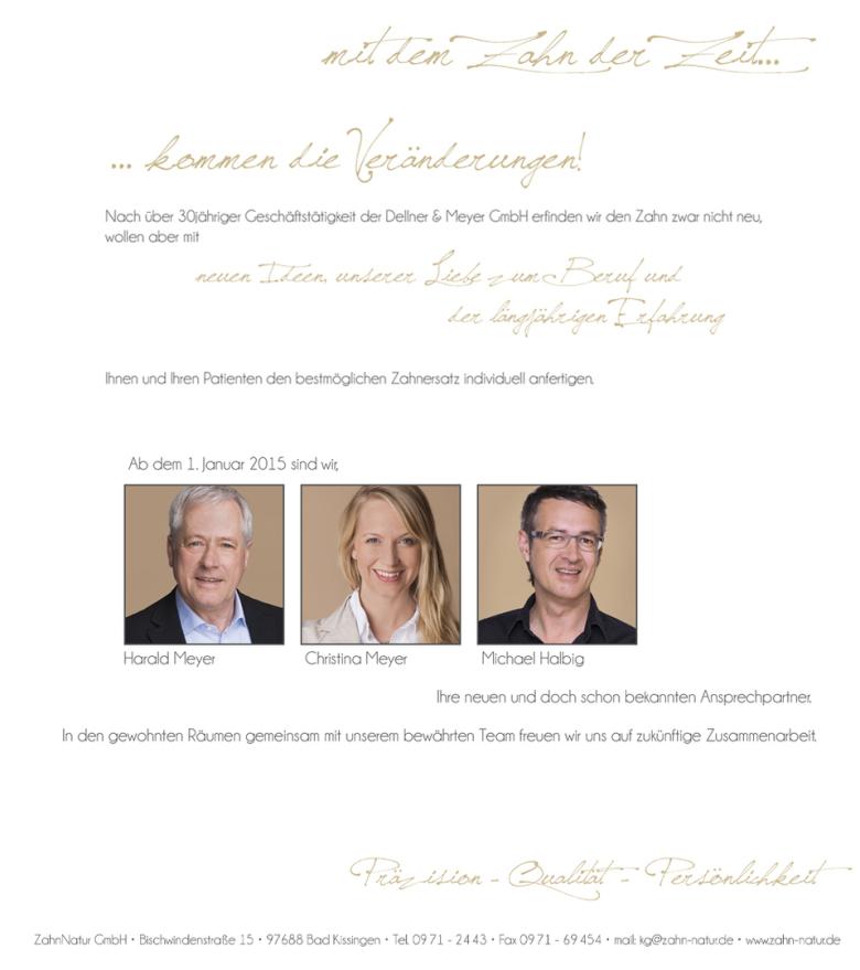 Dellner & Meyer GmbH wird zur ZahnNatur GmbH